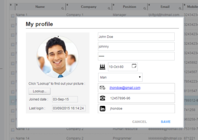 crm project my profile form