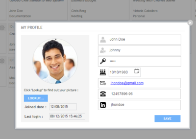 crm profile settings page